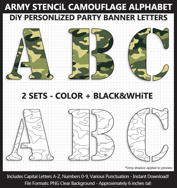 Printable Army Stencil Camouflage Banner Letters - DIY Military Party Banner