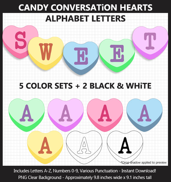 Printable Conversation Candy Hearts Alphabet Banner Letters - DIY Valentine's Day Party Banner