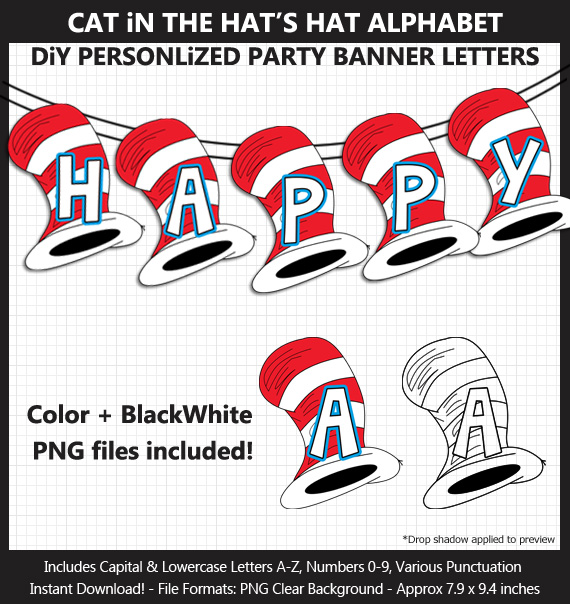 Printable Cat in the Hat Inspired Party Banner Letters - DIY Dr Seuss Party Banner