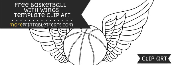 basketball with wings template � clipart