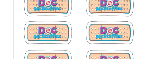 picture regarding Doc Mcstuffins Printable Labels called Document McStuffins Bandaid Emblem Stickers