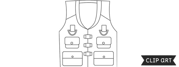 fishing vest template clipart