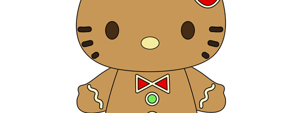 Gingerbread hello kitty cut out large for Hello kitty cut out template