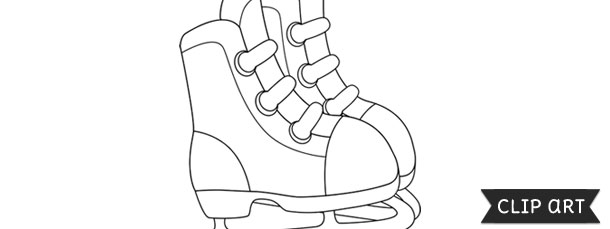 ice skates template clipart