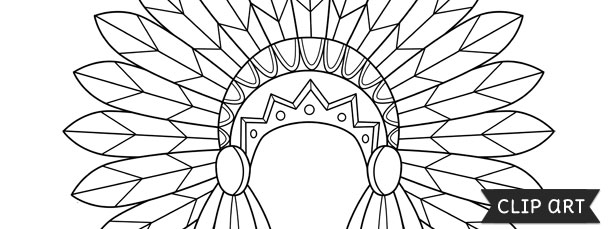 Indian headdress template clipart for Indian hat template