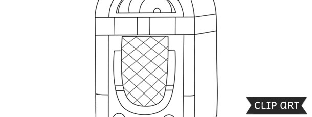 Line Art Jukebox : Jukebox template clipart