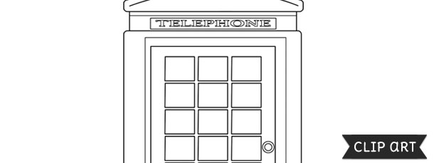 London Telephone Booth Template – Clipart