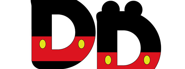 Mickey Mouse Style Letter D Cut Out – Medium