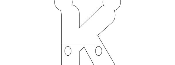 Mickey Mouse Style Letter K Template – Large
