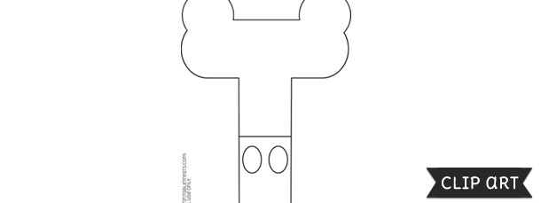 Mickey Mouse Style Letter T Template Clipart