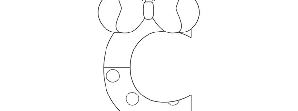 Minnie Mouse Style Letter C Template – Large