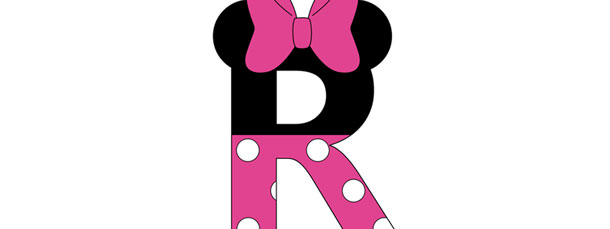 Minnie Mouse Style Letter R Cut Out Large