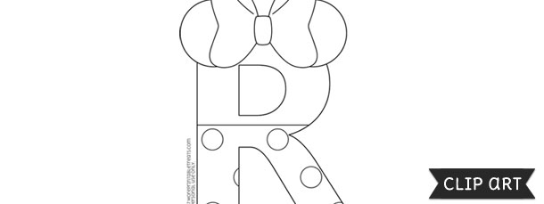 Minnie mouse style letter r template clipart pronofoot35fo Choice Image