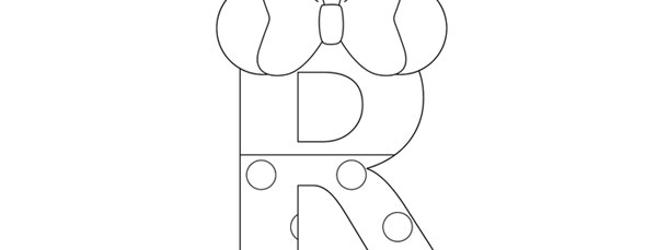 minnie mouse style letter r template large