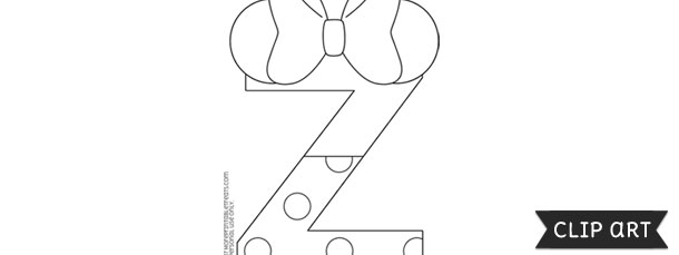 minnie mouse style letter z template clipart