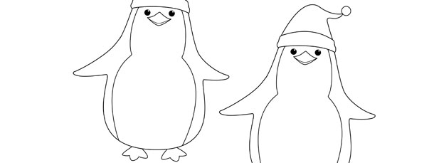 Penguin In Santa Hat Template  Medium