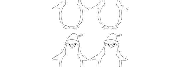 Penguin In Santa Hat Template – Small