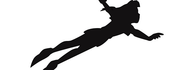 peter pan flying silhouette cut out large