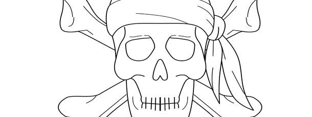 pirate skull wearing bandana template large