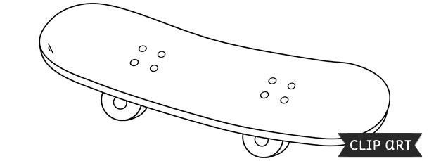 skateboard template clipart