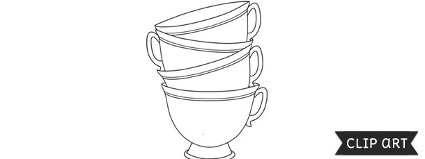 Stack Of Teacups Template – Clipart