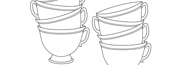 Stack Of Teacups Template – Medium