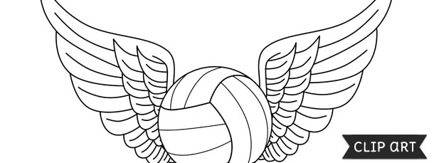 Volleyball With Wings Template – Clipart