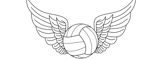 Volleyball With Wings Template – Large