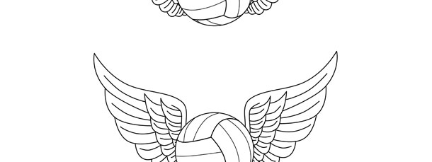 Volleyball With Wings Template – Medium