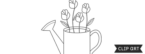 watering can with flowers inside template clipart