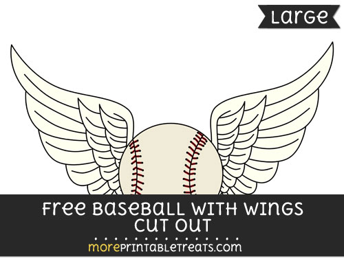 Free Baseball With Wings Cut Out - Large size printable