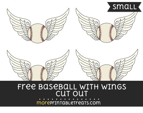 Free Baseball With Wings Cut Out - Small Size Printable