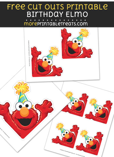 Free Birthday Elmo Cut Out Printable with Dotted Lines - Sesame Street