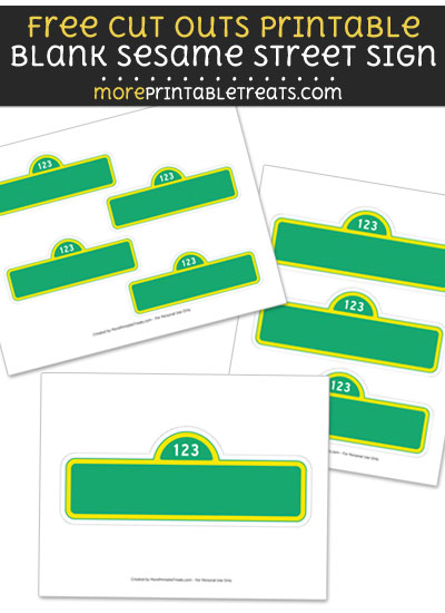 Free Blank Sesame Street Sign Cut Out Printable with Dotted Lines - Sesame Street