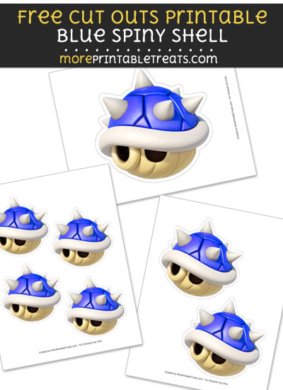 Free Blue Spiny Shell Cut Out Printable with Dotted Lines - Mario Kart