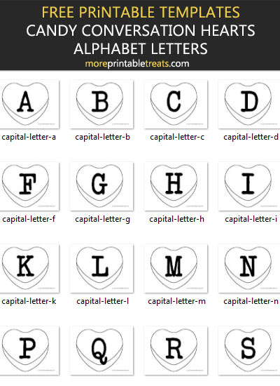 Free Candy Conversation Hearts Alphabet Banner Letter Templates - Printable