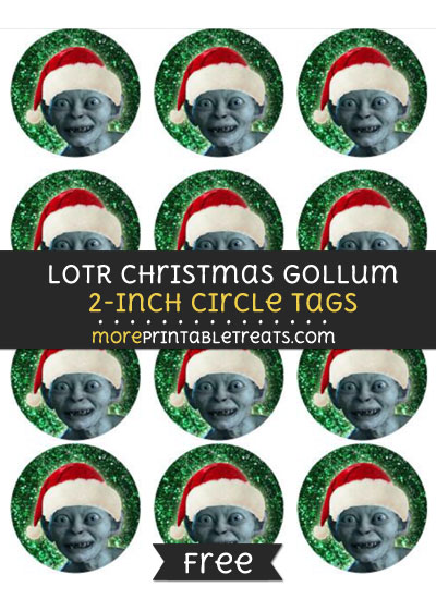 Lord of the Rings Christmas Gollum 2-Inch Circle Tags