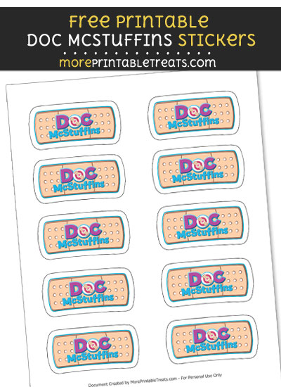 FREE Doc McStuffins Bandaid Logo Stickers to Print at Home