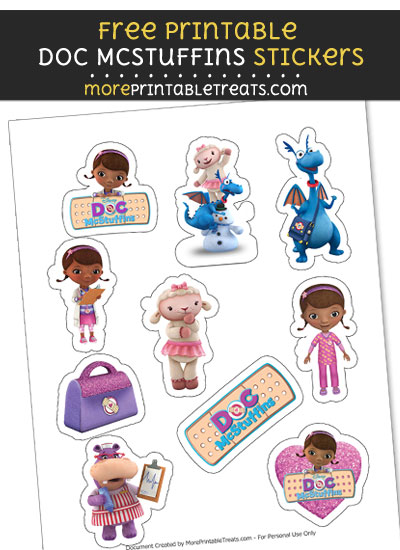 photo relating to Doc Mcstuffins Printable Labels called Document McStuffins Stickers Printable