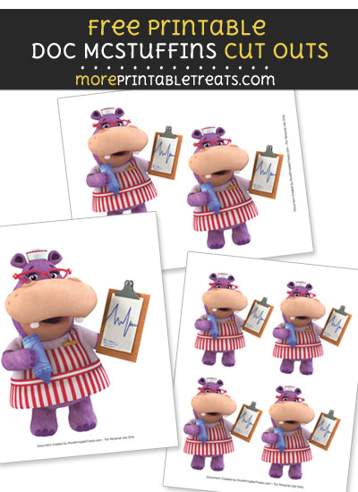 Free Hallie the Hippo with Medical Chart Cut Outs - Printable - Doc McStuffins