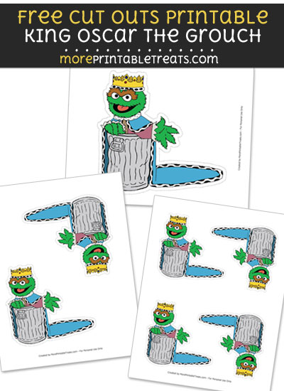 Free King Oscar the Grouch Cut Out Printable with Dashed Lines - Sesame Street