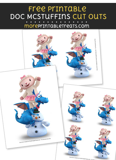 Free Lambie and Stuffy Climbing on Chilly Cut Outs - Printable - Doc McStuffins