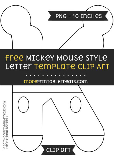 mickey mouse style letter k template clipart