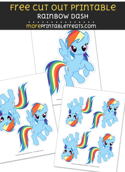 Free Rainbow Dash Cut Out Printable with Dashed Lines