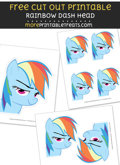 Free Rainbow Dash Head Cut Out Printable with Dashed Lines