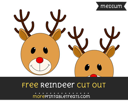 Free Reindeer Face Cut Out - Medium Size Printable