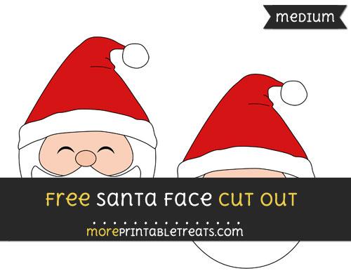 Free Santa Face Cut Out - Medium Size Printable