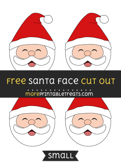 Free Santa Face Cut Out - Small Size Printable