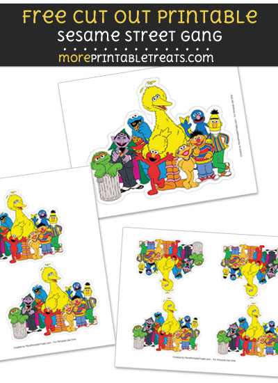 Free Sesame Street Gang Cut Out Printable with Dashed Lines