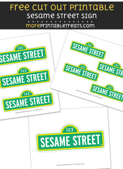 Free Sesame Street Sign Cut Out Printable with Dashed Lines